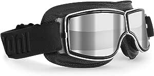 Bertoni Motorradbrille Schutzbrille Für Harley Davidson Chopper Und Scrambler Aus Schwarzem Leder Und Chrom Rahmen Transparente Linse Silberspiegel Auto