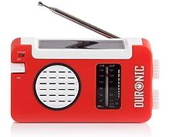 Duronic AM/FM Radio HYBRID | Charge 3 Ways: Solar Power, Wind Up, USB | Dynamo Crank Charging | Headphone Jack 3.5mm | Portab