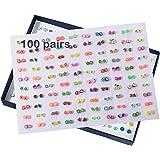 Yolistar Pendientes para Niñas, Surtido de Aretes Múltiples Conjunto de Joyas con Caja, 100Pares Pendientes para Niñas Mezcla