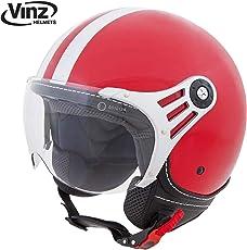 Vinz Rollerhelm Jethelm Fashionhelm   Roller Jet Helm mit Streifen   in Gr. XS-XL   Motorradhelm mit Visier   ECE zertifiziert (XL, Rot)