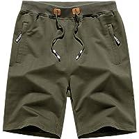 KEFITEVD Men's Casual Gym Fitness Shorts Cotton Cycling Yoga Running Short Pants with Zipper Pockets