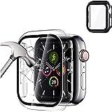 [2 Pack] Protector de Pantalla para Apple Watch 40mm/44mm Serie SE 6/5/4,PC Funda + Cristal Templado, Protección Completo Ant