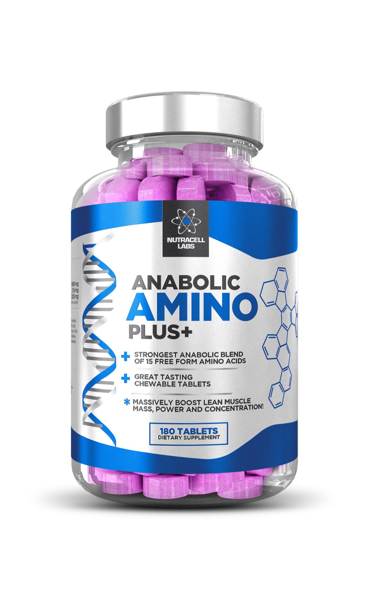 Anabolic Amino Acid Plus+ : Premium 15 Amino Acids Blend BCAA + Vitamin B6 (180 Raspberry Chewable Tablets)