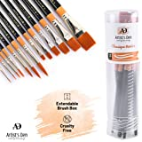 Artist's Den Synthetic Hair Mix Brushes Set for Acrylic, Watercolor, Gouache & Oil Painting (Set of 13 Mix)