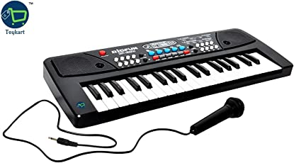 Toykart Obbi 37 Key Piano Keyboard Toy with DC Power Option, Recording and Mic for Kids (Black)