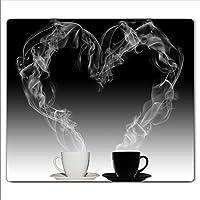 Couvre-plaque de cuisson Gsmarkt - Protection anti-éclaboussures ou planche à découper - 60 x 52cm - Image sur verre - Verre de sécurité trempé - Motif: café