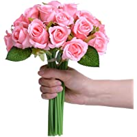 TIED RIBBONS Artificial Rose Flowers Bunches for Vase (12 Heads, 24 cm, Light Pink) - Home Decoration Gift Items for…