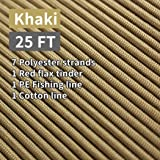 PSKOOK Paracord Survival Cord with Waxed Tinder Fishing Line Cotton Thread Outdoor Commercial Grade Braided Fire…