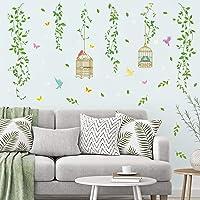 decalmile Stickers Muraux Verte Pendaison Vigne Autocollant Mural Feuilles Vertes Oiseaux Décoration Murale Chambre…