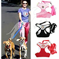 Pets Empire Mesh Fabric Puppy Dog Vest Harness Soft Adjustable Comfortable| Pet Lead Chest Walking Leash with Clip Size…