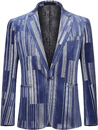 Sliktaa Mens Casual Suit Jacket Slim Fit Formal Notched Lapel One Button Sliver Suit Blazer 10 Colors