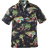 True Face Men's Hawaiian Christmas Shirt | Short Sleeve Surfin' Santa | Fun, Bright, Colourful, Silly Xmas T Shirt for Partie