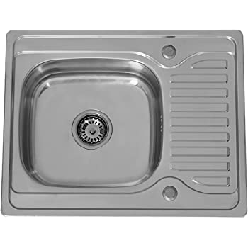 Stainless Steel Inset Square Kitchen Sink Single Bowl Reversible Drainer UK