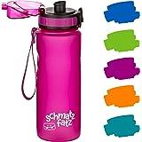 schmatzfatz auslaufsichere Sport Trinkflasche Kinder, BPA frei, 500ml, Fruchteinsatz, 1-klick Verschluss, Kinder…