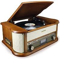 Soundmaster NR546BE Nostalgie Stereo DAB+/UKW Digitalradio mit Plattenspieler inkl Audio Technica…