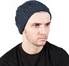 Noise Grey Wave-Cross Knitted Slouchy Beanie Cap