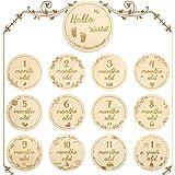 Carte Mesi in Legno per Bambini, Set Regalo per Neonati Milestone Carte Miliari Mensili Puntelli Commemorativi Foto Crescita