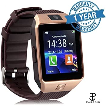 Padraig DZ09 Bluetooth Smart Wrist Watch Phone With Camera & SIM Card Support For All Android Phones (Gold)