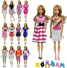 ZITA ELEMENT 10 items 5 Fashion Summer Short Wear Clothes Outfit +5 Shoes for Barbie Dolls Clothes Costume-Random Style