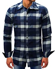 Mose Men's Plaid Shirt Lattice Denim Long-Sleeve Beefy Button Basic Solid Blouse Tee Shirt Top