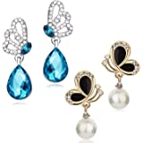 Sukkhi Fancy Rhodium and Gold Plated Crystals from Swarovski Butterfly Drop Earring Combo For Women (SKR58125)