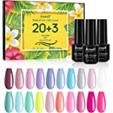 Smalti Semipermanenti Unghie, Anself 20 Gel colorato + Base Coat + Top Coat + Set smalto gel per manicure Top Coat opaco, Kit