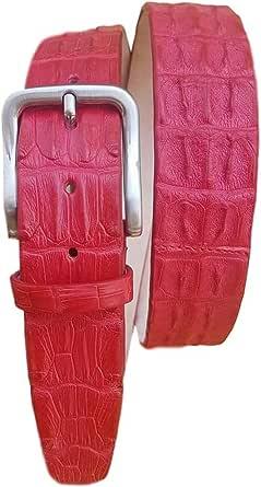ESPERANTO Cintura coccodrillo schiena uomo e donna 4 cm,fodera vera pelle cuoio nabuk artigianale 4 cm accorciabile-rosso rubino