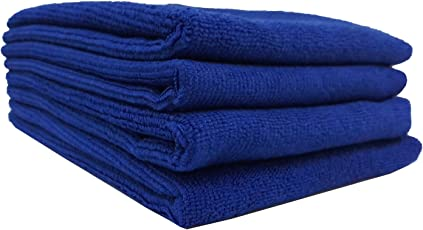 WipeWash 4 Pcs Pack of Duster for Car Cleaning Microfiber Cloth 40x40 cms (Blue)