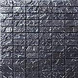 Glas Mosaik Fliesen Matte in Schwarz Texturiert Lava Baustein Effekt (MT0120)