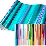 Feuilles en vinyle opale holographique, jeu de 11 feuilles en vinyle à dos adhésif permanent Ohuhu, 9 feuilles en vinyle méta