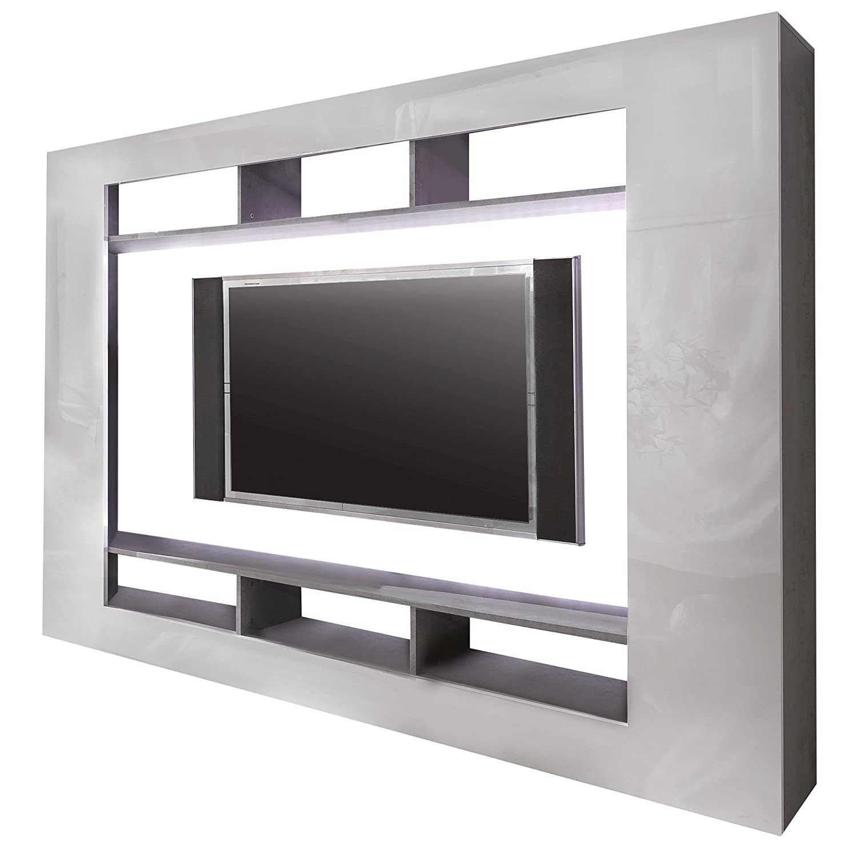 Trendteam sd89535 wohnwand tv möbel weiss hochglanz, beton ...