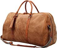 Iblue X-Large Genuine Leather Travel Bag Weekend Luggage Duffel Overnight Carryon Handbag H001 (brown)
