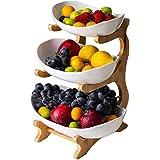 WYFFF Kosz na owoce, kreatywny blat kuchenny, 3-stopniowa misa na owoce (regał z bambusa i drewna x 1, miska ceramiczna x 3),