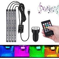 Luci abitacolo Auto USB Striscia LED Bawoo Striscia Luce Interni 48 Led RGB Auto Illuminazione Strisce 8 Colori 4…