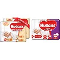 Huggies Wonder Pants, Extra Small (XS) Diapers, 24 Count & Huggies New Born Taped Diapers Combo Pack of 2, 22 Counts Per…