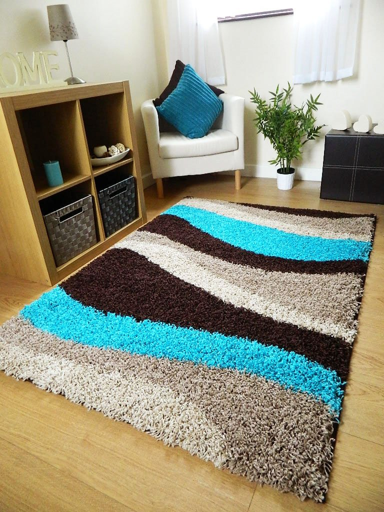 small extra large rug new modern soft thick teal blue brown beige waves shaggy rug non shed shag runners 6 sizes available 120 x 170 cm 160 x 225 cm