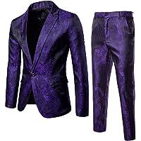 2PCS Mens One Button Classic Blazer Wedding Party Jacket Suits Coat & Pants Slim Fit Single Breasted Vintage Retro Smart…