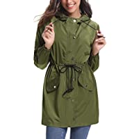 Women Waterproof Raincoat Hooded Long Sleeve Zipper Rain Jacket Lightweight Windbreaker Raincoats Active Outdoor Long…