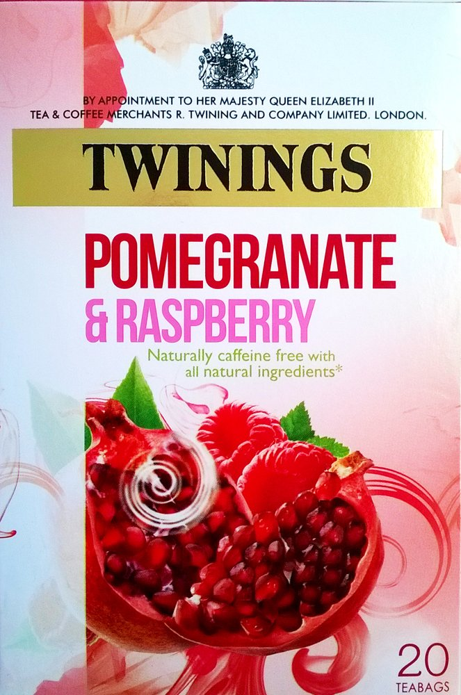 Twinings pomegranate and raspberry tea bundle (infusions) (4 packs of 20 bags) (80 bags) (a fruity tea with aromas of pomegranate, raspberry) (brews in 2-3 minutes)