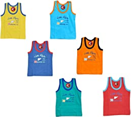 GURU KRIPA BABY PRODUCTS ® Products Presents New Born Baby Kids Inner Wear Baniyan Unisex Printed Cotton Baby Sando Vest 100% Cotton Housiry With Cartoon Print Brief Cotton Vest Top Undershirt Pack of 6 pcs
