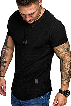 Mens Casual Short Sleeve Shirts Fashion Muscle Athletic T-Shirts Workout Tees M-2XL