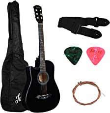 Juarez Acoustic Guitar [ LEFT HANDED] 38 Inch Cutaway 38CL/BK with Bag Strings Pick and Strap, Black