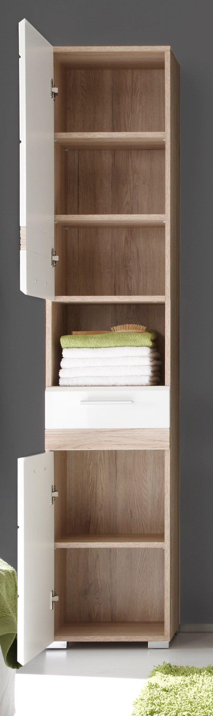 maisonnerie 1336 103 96 armoire grand meuble salle de bain ch ne de san remo claire blanc. Black Bedroom Furniture Sets. Home Design Ideas