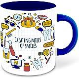 Whats Your Kick - Dentist Inspired Designer Printed Dark Blue Inner Color Ceramic Coffee  Tea   Milk Mug   Motivational  Wall