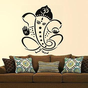 Decals Design 'Pious Lord Ganesha' Wall Sticker (PVC Vinyl, 60 cm x 60 cm, Black)