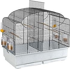 Ferplast Vogelheim Canto für Kanarienvögel und Exoten – Hochwertiger Vogelkäfig mit herausnehmbarem Trenngitter und umfangreichem Zubehör – Maße 71 x 38 x 60,5 cm