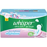 Whisper Ultra Soft Sanitary Pads for Women, XL 30 Napkins