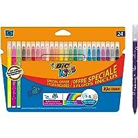 BIC Kids Kid Couleur Feutres de Coloriage à Pointe Moyenne - Couleurs Assorties, Etui Carton Format Spécial de 24