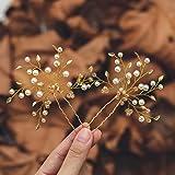 Mayelia Perlen Braut Hochzeit Haarnadeln Gold Haarteil Blatt Haarspangen Perle Braut Haarschmuck für Frauen und Mädchen (2 St