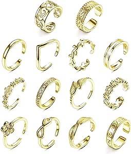YADOCA 8 Pi/èces Phalange Bague pour Les Femmes Filles Ajustable Bague Fantaisie R/églable Style Boh/ème Bague Toe Ring Knuckle Ring Anneau Empilable Bague Set Bijoux